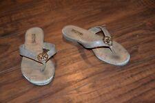 A22- Michael Kors Demi Macie Gold Flip Flops Size 12