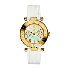 NEW GUESS COLLECTION GC DIVER CHIC GOLD LADY WATCH WHITE STRAP DATE MOP I25039L1