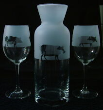Pig gift 3 piece wine carafe set..Boxed