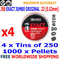 JSB EXACT JUMBO ORIGINAL .22 5.52mm Airgun Pellets 4(tins)x250pcs
