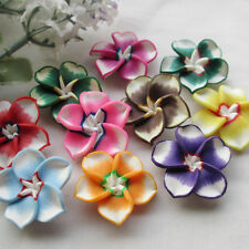 30pcs Mix Assorted Colorful Flowers Fimo Polymer Clay Beads 30mm