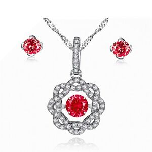 Flora Dancing Pendant Necklace Created Ruby with Earring Set