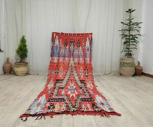 Vintage Moroccan Tribal Handmade Rug 3'4x8'9 Geometric Berber Orange Wool Rug