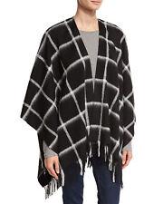 Neiman Marcus Merino Wool Fringed Ruana Wrap