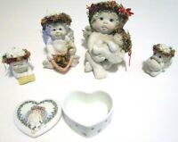 """Dreamsicles Figurines & Trinket box, Lot of 4 Signed by Kirsten,  2-1/4"""" to 4"""""""