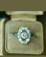 Art Deco 2.90 Ct Round Cut VVS1 Diamond Women Wedding Ring 14K White Gold Over