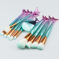 11pcs Mermaid Makeup Brushes Set Foundation Powder Eyeshadow Eyebrow Lip Brush