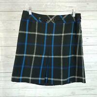 Ann Taylor LOFT Womens Skirt Sz 6 Black Blue Windowpane Lined