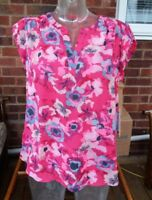 Hilary Radley Ladies Polyester Top - Fuschia Floral Combo