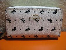COACH 59782 LEATHER BUTTERFLY DOTS SMALL DOUBLE COIN/CARDS CASE WHITE/BLACK NWT