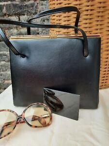 Vtg Original 60s England Black Genuine Leather Grained Grab Kelly Bag. Superb...