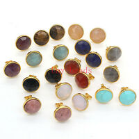Yellow Gold Plated Natural Amethyst Quartz Gemstone Facted Stud Earrings Jewelry