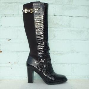 Isaac Mizrahi Patent Leather Boots UK 6  39 Womens Elasticated Croc Black Boots