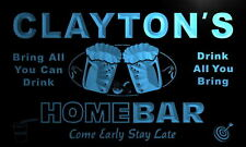 p252-b Clayton's Personalized Home Bar Beer Family Name Neon Light Sign