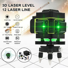 360°Rotary 3D 12 Lines Green Laser Level Self Leveling Cross Measure Tool Set UK