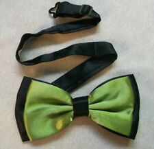 Bow Tie Mens NEW Bowtie Adjustable Dickie TWO TONE OLIVE GREEN BLACK