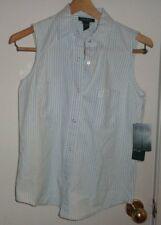 S NWT Womens Ladies Ralph Lauren Shelter Island Blouse Shirt Indigo Striped Snap
