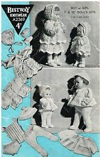 """Dolls clothes knitting pattern for  7"""" & 10"""" Baby doll. (V Doll 174)"""
