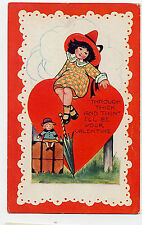 POSTCARD VALENTINE - VINTAGE WHITNEY - GIRL SITTING ON HEART - PARASOL - DOLL
