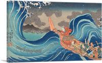 Life of Nichiren - A Vision of Prayer on the Waves Canvas Art Utagawa Kuniyoshi