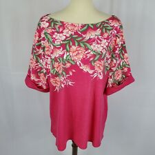 NWT Sz 1X Karen Scott Floral Boatneck Knit Top MSRP $36.50 Dark Pink /& Ivory