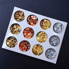 12 Pots Foil Flakes Leaf for Manicure Nail Art, 4 Colours, New & Boxed