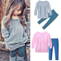 2PCS Toddler Kids Baby Girls Autumn Clothes T-shirt Tops Dress+Pants Outfits Set