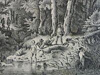 Charles Jean GROUX (1802-1865) Radierung 1860 BADENDE MIT AUFPASSER UND WANDERER