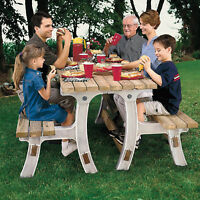 8ft. Sand Outdoor Convert-a-Bench Seat Convert To Picnic Table Resin Vinyl Fold