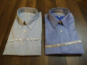 LOT OF 2 MARSHALL FIELDS DRESS SHIRTS SIZE 16.5 34/35 LONG SLEEVES NOS BLUE