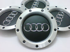 MATTE BLACK AUDI RS4 X 4 ALLOY WHEEL CENTRE HUB CAPS TT A1 A2 A3 A5 A4 A6 A8 UK