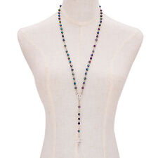 Hot Sale Rainbow Multi-Color Rosary Christ Cross Women Sweater Chain Necklace