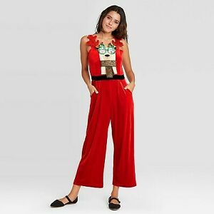 Women's Ugly Holiday Llama Velour Sleeveless Graphic Jumpsuit - Red M
