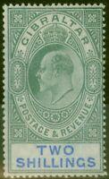 Gibraltar 1903 2s Green & Blue SG52 Fine & Fresh Mtd Mint (4)