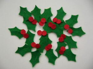 20 Felt Christmas Holly Leaves and Berry Shapes