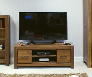 Mayan low widescreen television cabinet stand unit solid walnut dark wood