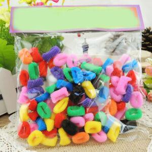 100Pcs Girls' Multicolor Elastic Rope Ring Hairband Hair Band Ponytail Holder