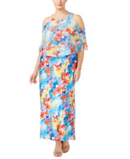 Plus Size Maxi Dress 1x 18w Sleeveless Floral Pink Blue Yellow NY Collection