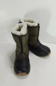 Carters Boys Toddler Sz 11 Green Zip Up Winter Duck Boots