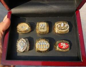 6PCS San Francisco 49ers Team Ring Souvenir Set With Wooden Display Box Fan Gift