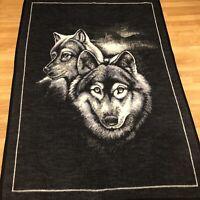 Vintage Biederlack 2 Wolves Blanket Reversible Bed Throw 76 X 54 Acrylic 80s
