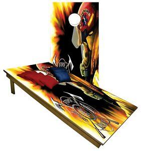 Fireman CORNHOLE BEANBAG TOSS GAME w Bags Game Board Fire Truck Water Set