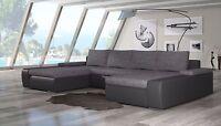 Wohnlandschaft Ibby Textil Silber Grau Eck Couch Sofa Schlaffunktion