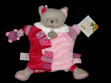 Doudou & Compagnie Marionnette Enola le Chat gris rose et parme étiquette DC2349