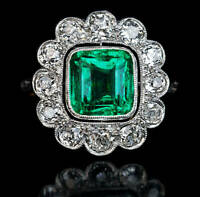 Art Deco 3 Ct Cushion Emerald Cluster Vintage Engagement Ring 14K Yellow Gold Fn