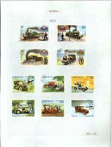 Liberia 1973 Locomotives, Cars Album Page Of Stamps #V20831