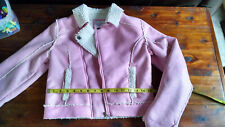 Justice Girls Pink Metallic Sherpa Coat 8/10 Moto Jacket Zip Front Outerwear