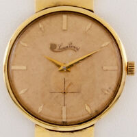 Lucien Piccard 14k Yellow Gold Men's Hand-Winding Watch w/ Gold Band