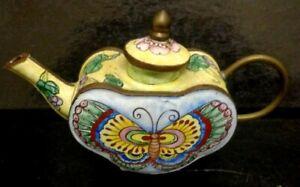 Pretty Vintage Enamel Miniature Collectors Hand Painted Porcelain Teapot 7 x11