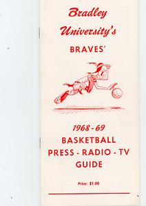 1968-69 Bradley University Basketball Media Guide, press, radio, tv information